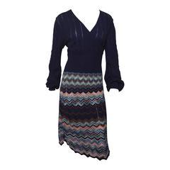 M Missoni Navy Blue Chevron Wrap Dress