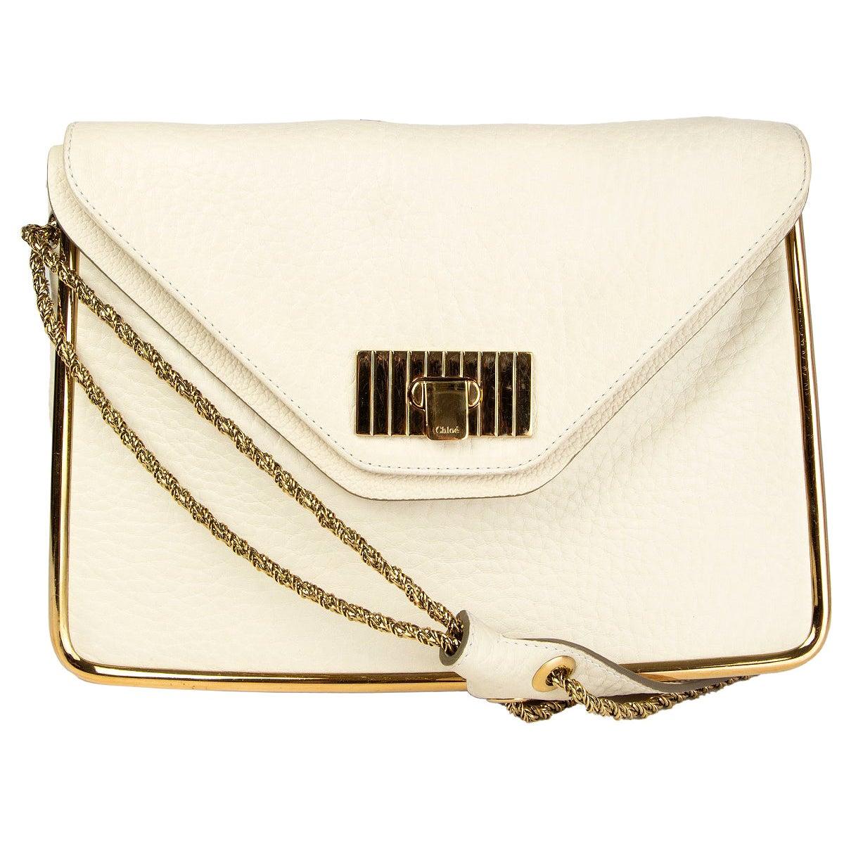 CHLOE white leather MILK SALLY MEDIUM Shoulder Bag
