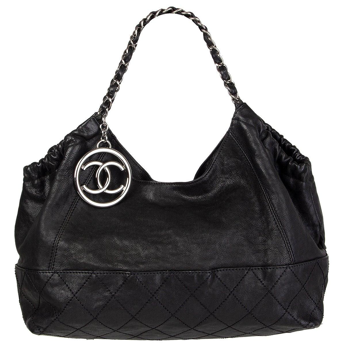 CHANEL black leather COCO CABAS Shoulder Bag