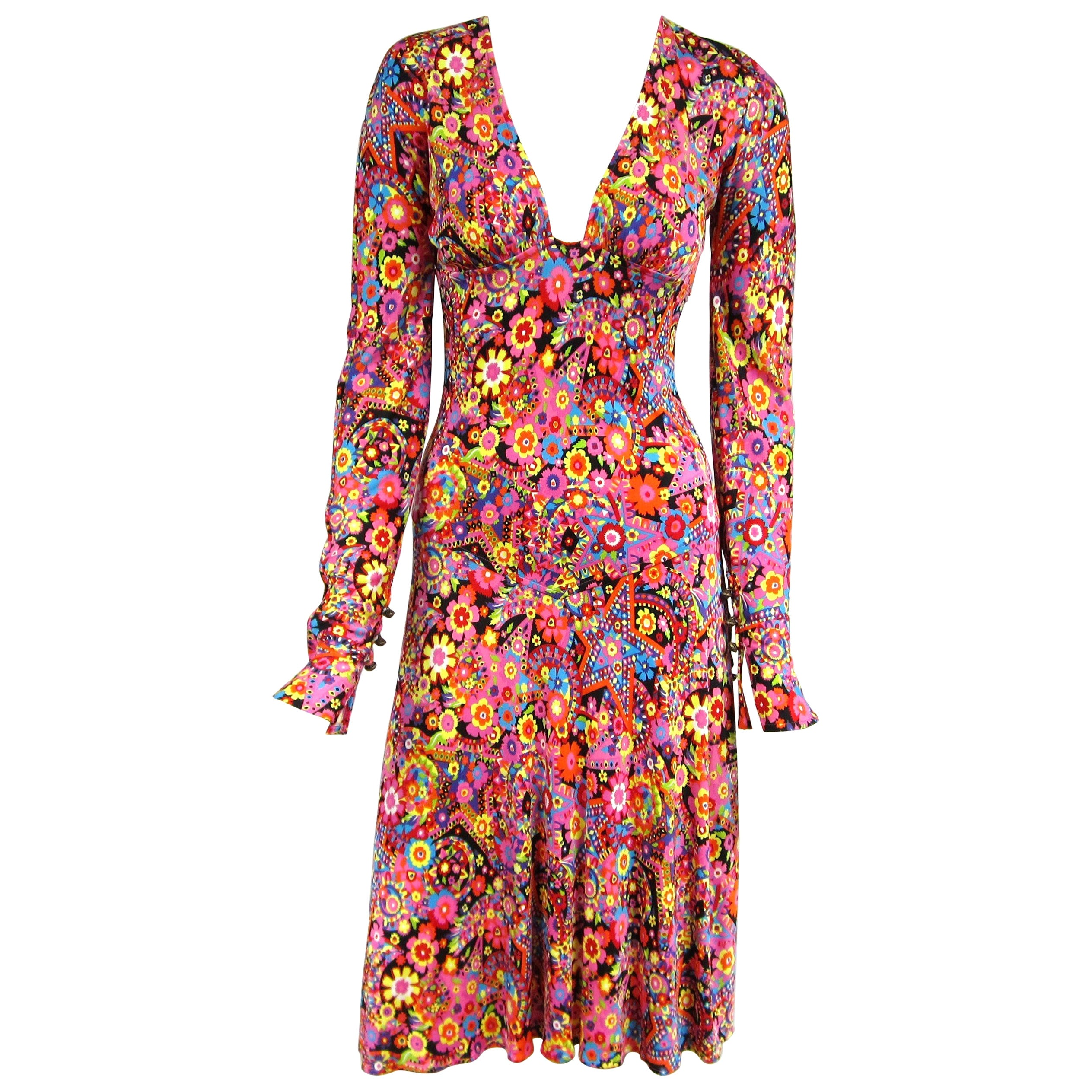 Gianni Versace Couture Floral Abstract Dress 2002