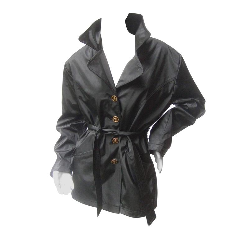 Versace Jeans Couture Sleek All Weather Belted Jacket c 1990s
