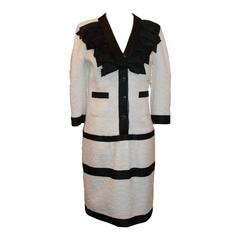 2009 Chanel Black and White Tweed  3/4 Sleeve Dress with Ribbon Trim - 40