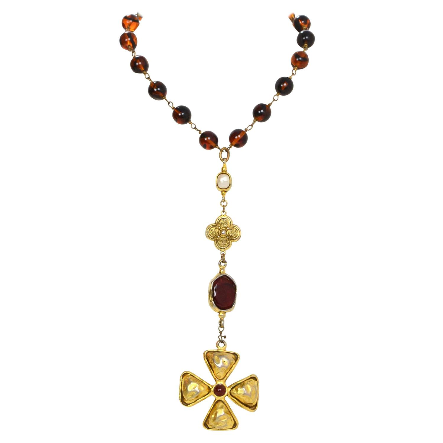 Chanel Vintage 70s Rosary Style Brown Bead And Cross