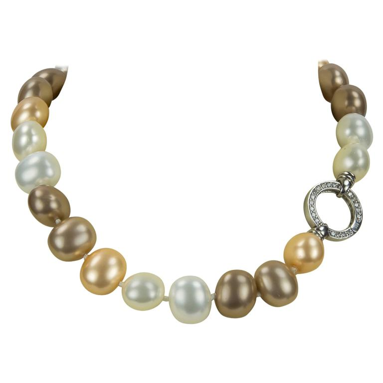 Striking Large Luscious White Gold and Bronze Faux Pearl Choker Necklace For Sale