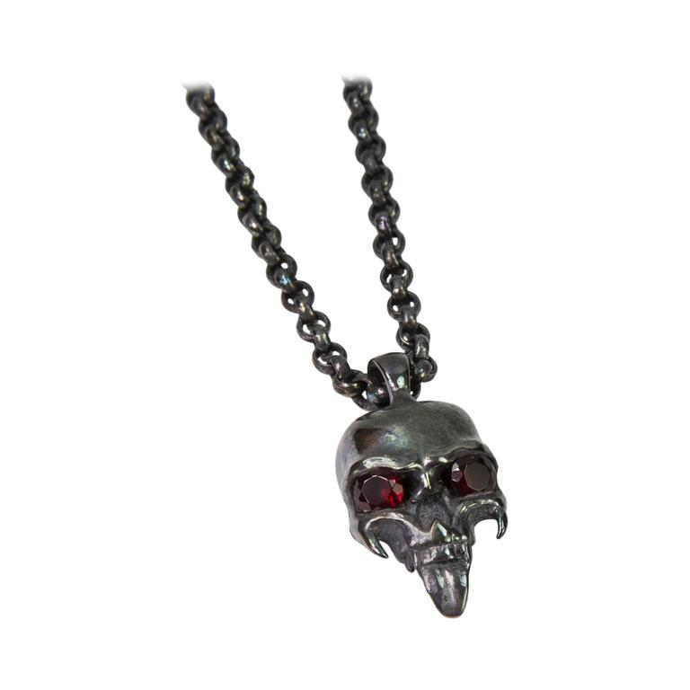 Sterling Silver Skull Pendants Dynamic sterling silver skull pendant and chain for sale at 1stdibs dynamic sterling silver skull pendant and chain for sale audiocablefo