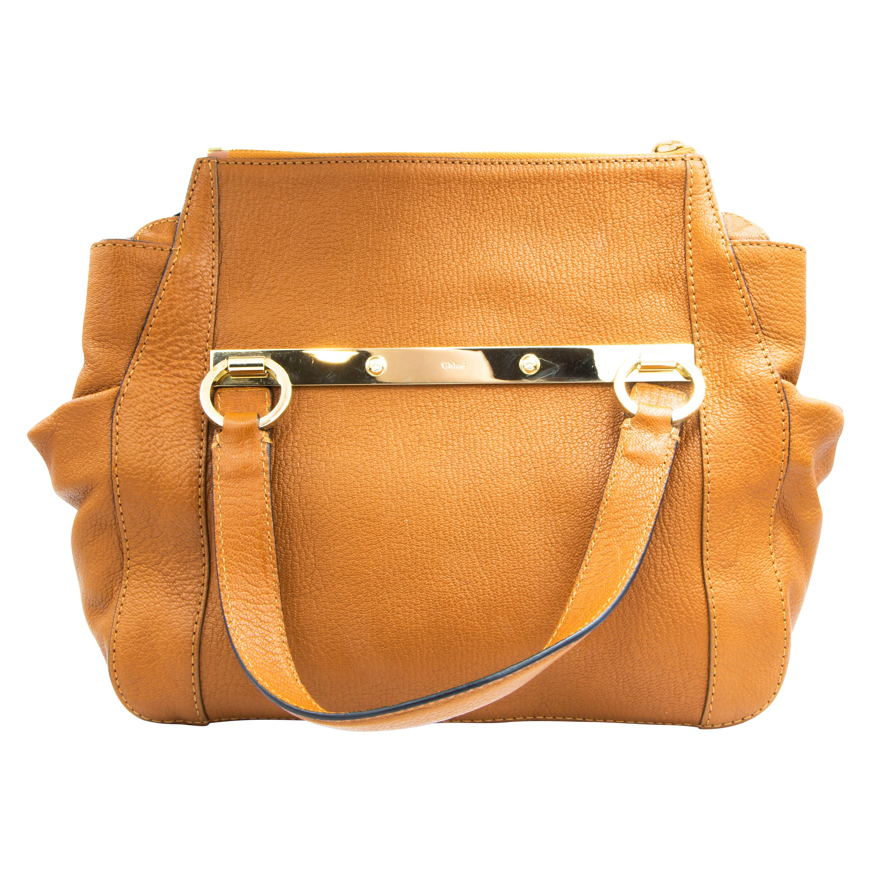 Authentic Chloe Brown Goatskin Handbag with Crossbody Strap