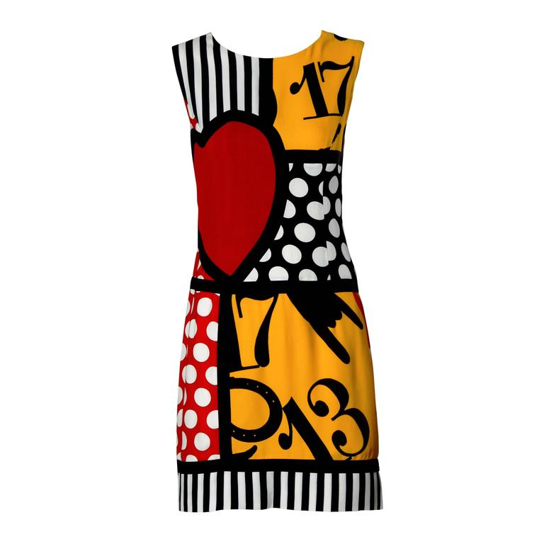 Iconic Moschino Vintage 90s Pop Art Dress with Numbers, Heart + Cat