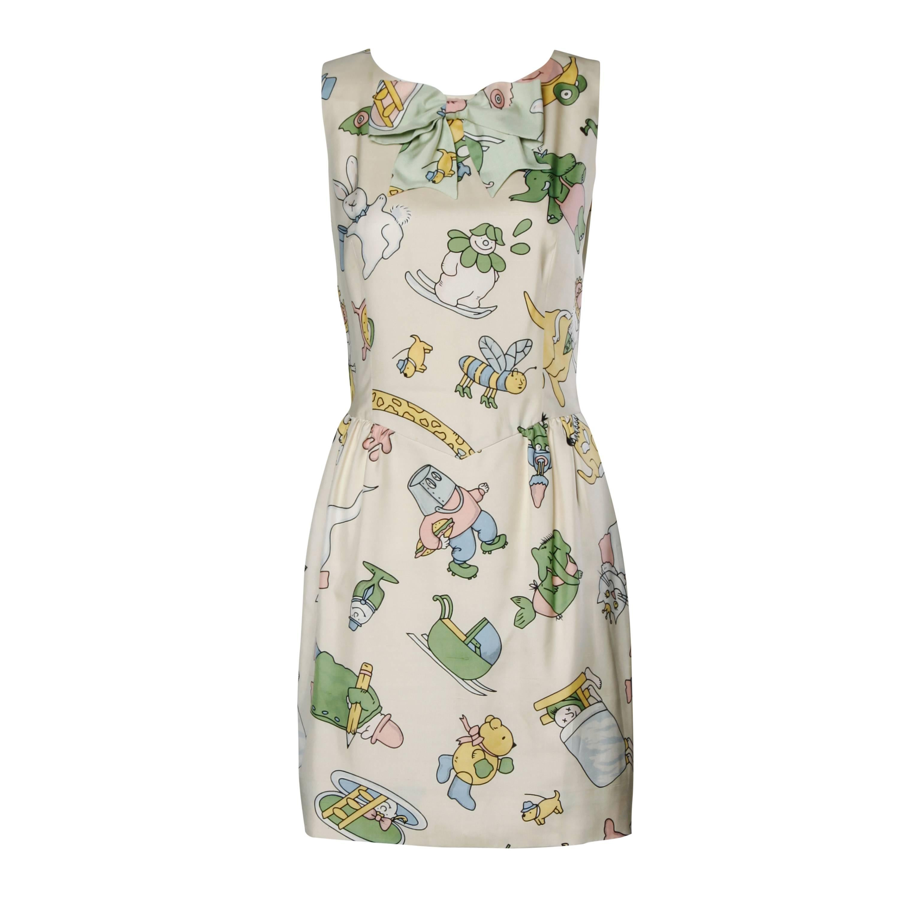 Moschino Couture! Vintage Silk Pastel Cartoon Animal Print Dress For Sale  at 1stdibs 32fe36511