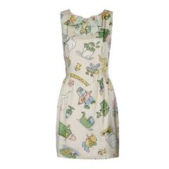 Moschino Couture! Vintage Silk Pastel Cartoon Animal Print Dress