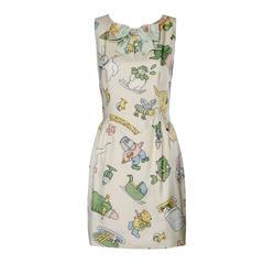 Moschino Couture! Vintage Silk Pastel Cartoon Animal Print Dress