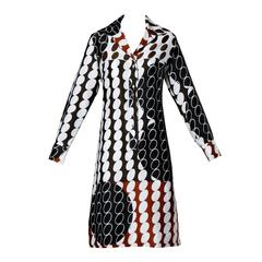 Lanvin Vintage 1970s Op Art Graphic Polka Dot Print Shirt Dress