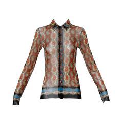 Jean Paul Gaultier Vintage Mesh Paisley Print Button Up Blouse Top