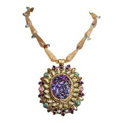 Ella K Venetian Glass, Papier Mache, Swarovski Crystal, & Shell Necklace