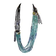 Iradj Moini Apatite & Iolite Necklace with Onyx and Mother of Pearl Details