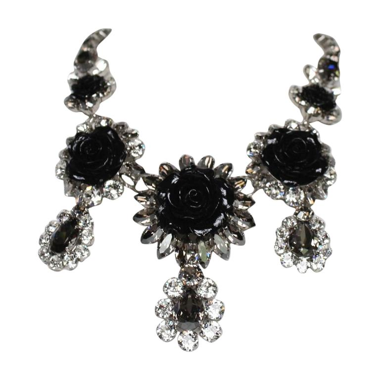 Philippe Ferrandis Swarovski Crystal and Black Resin Rose Necklace 1