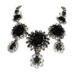 Philippe Ferrandis Swarovski Crystal and Black Resin Rose Necklace