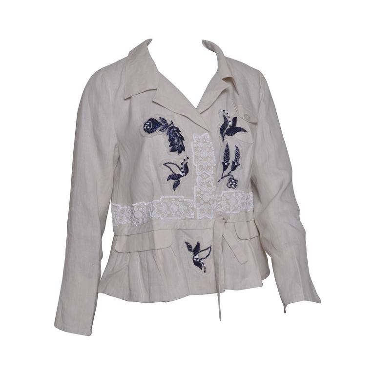 Prada Beaded Embroidered Linen Jacket