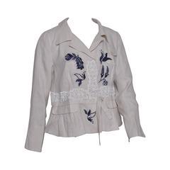 Prada Beaded Embroidered Linen Jacket