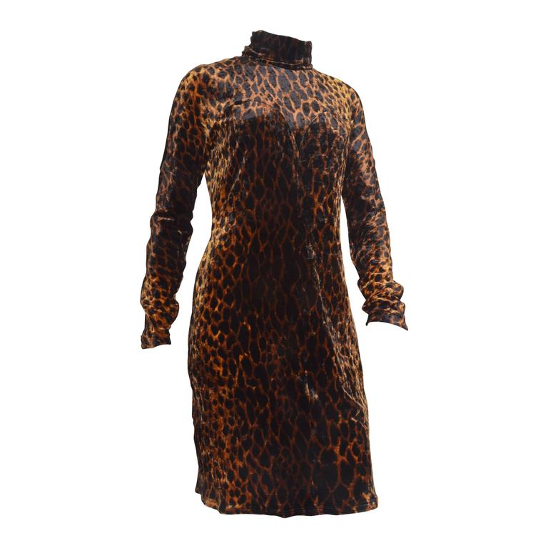 Gianni Versace Couture Leopard Print Stretch Dress
