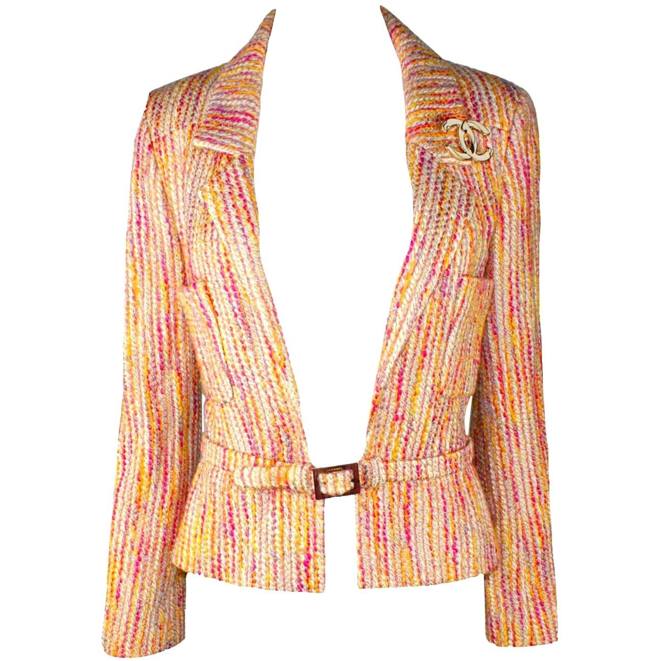 NEW Multicolored Chanel Lesage Fantasy Tweed Jacket Blazer with Belt