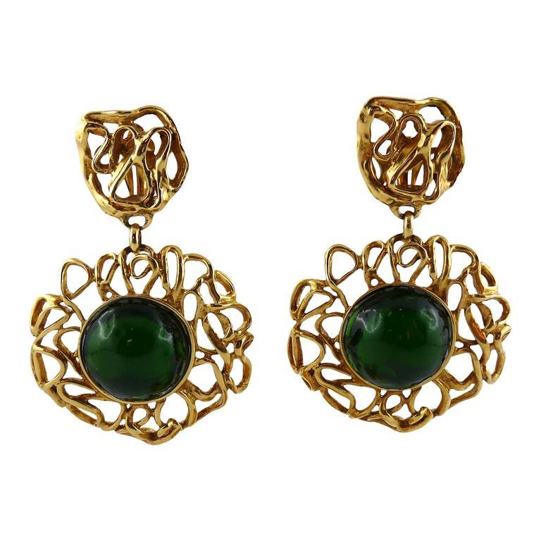 Yves Saint Laurent YSL Vintage Massive Emerald Dangling Earrings For Sale