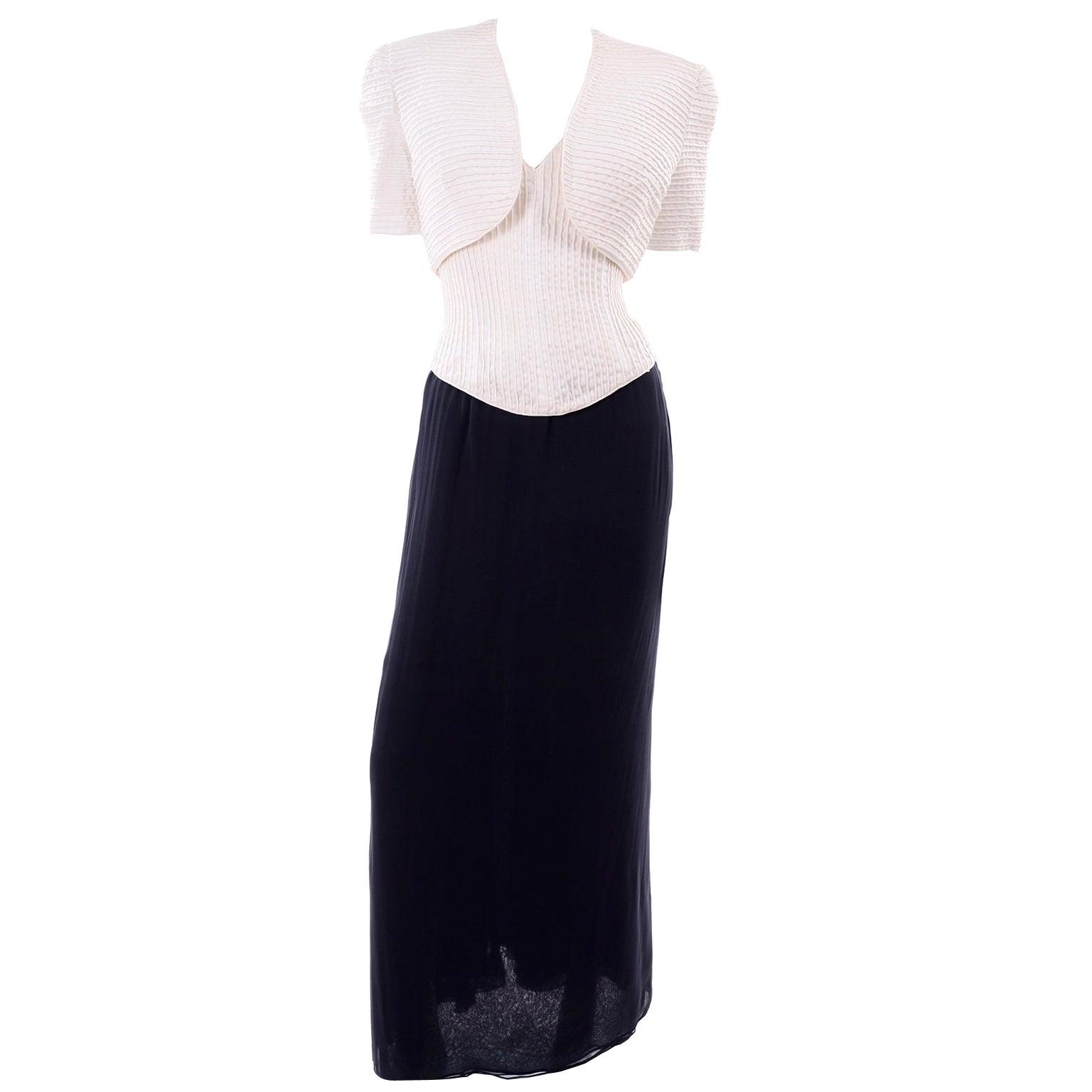 Deadstock Oscar de la Renta 3 pc Evening Dress w White Bolero & Bustier & Skirt