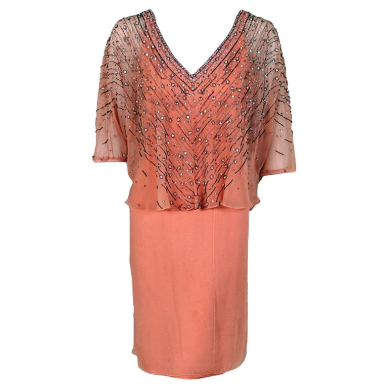 c893889dec 1977 Christian Dior Haute Couture Beaded Sequin Peach Draped Silk Capelet  Dress For Sale