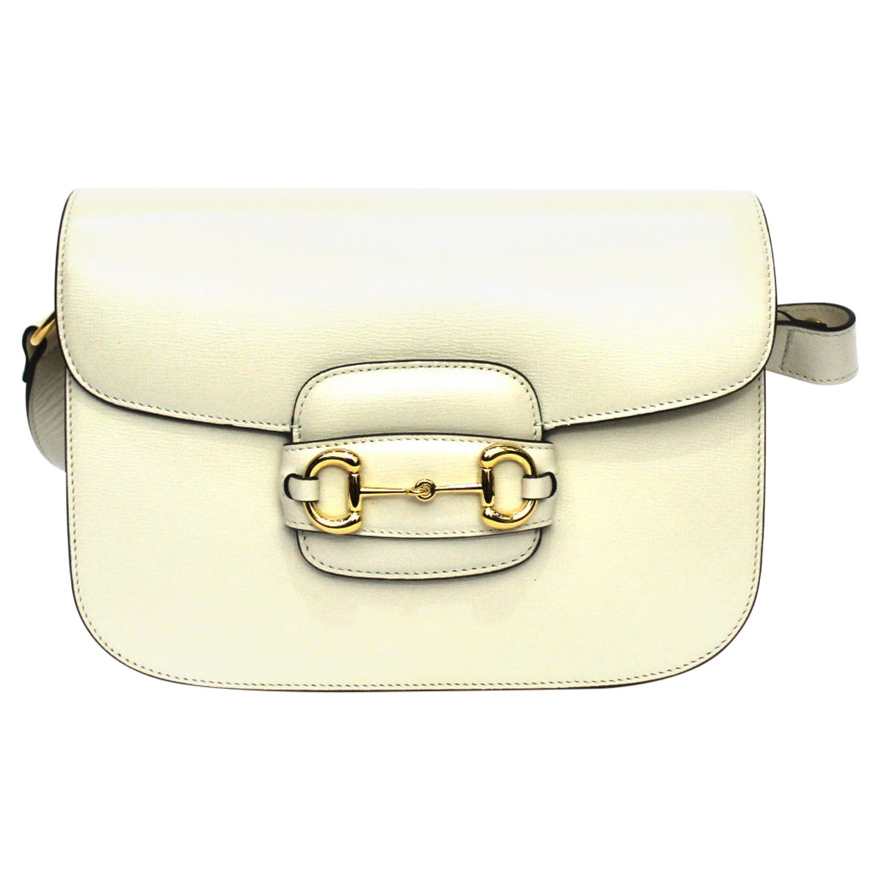 Gucci White Leather 1955 Horsebit Bag