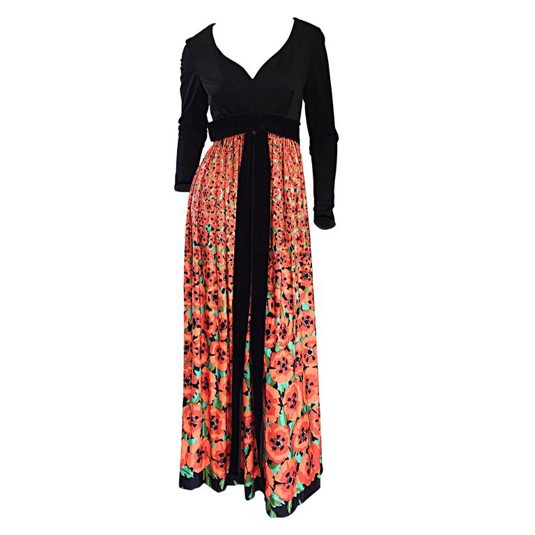 Vintage Joseph Magnin 1970s ' Hibiscus ' Print 70s Boho Maxi Dress w/ Bow For Sale