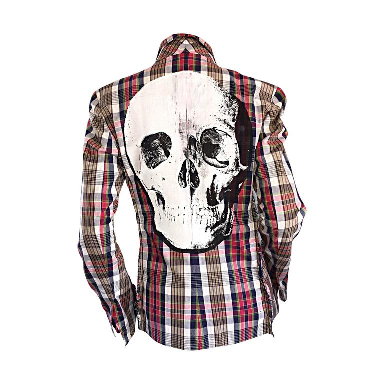 Libertine Impossible to Find Up - Cycled Plaid Blazer w/ Hand - Painted Skull For Sale