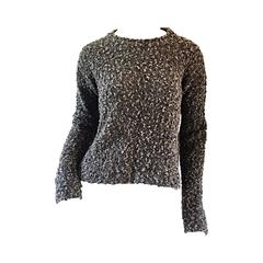 Chic Vintage Alessandra ' Made in Italy ' Gray Comfy Slouchy Crop Top Sweater