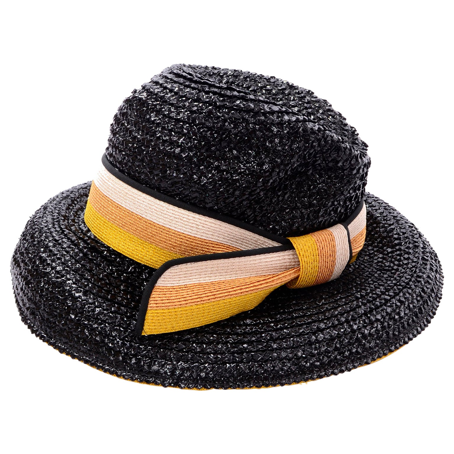 1960s Deadstock Vintage Yves Saint Laurent Straw Hat With Striped Ribbon W Tag