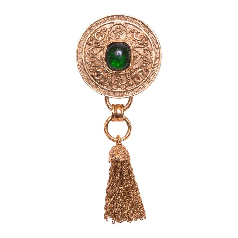 CHANEL 18K Gold Plated Pin with Tassle For Sale