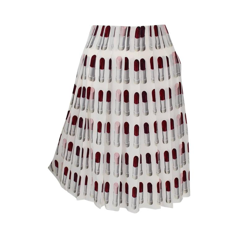 Prada Runway Lipstick  Print Skirt Rare & Collectable 1