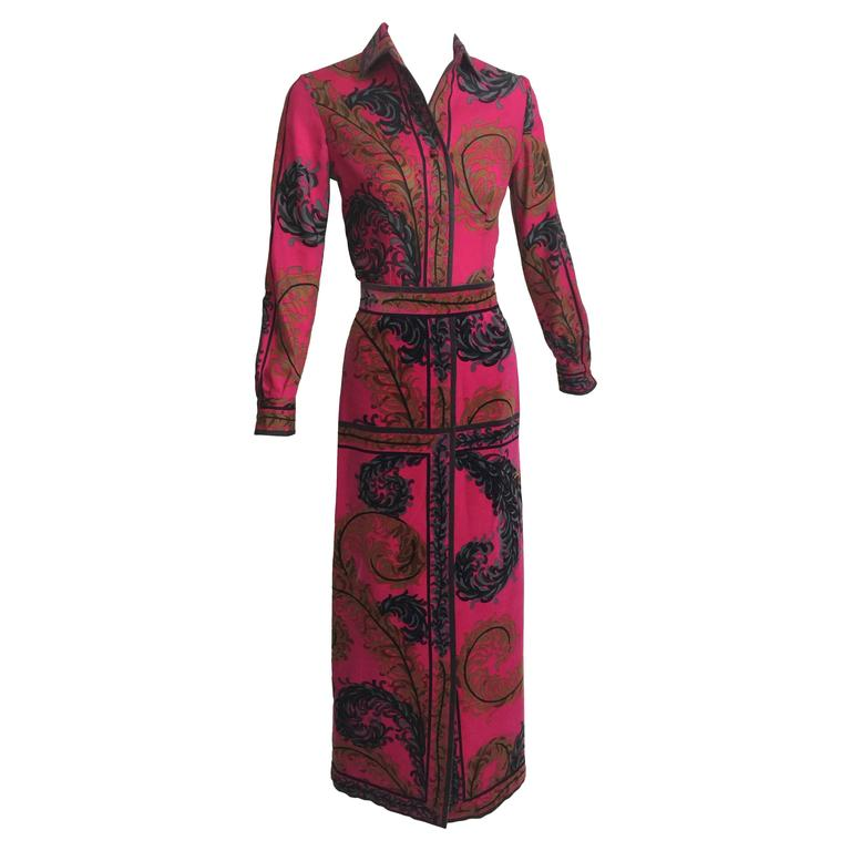 Pucci Wool Printed Blouse & Maxi Velvet Skirt Set Rare, 1970s  For Sale