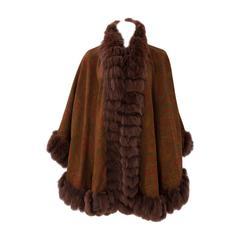 Unworn Sprung Frères Reversible Cashmere & Sable Fur Stole Cape