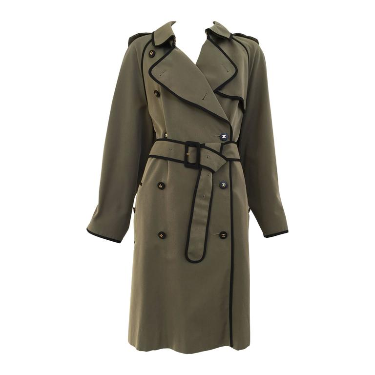 1980s CHANEL olive green cotton trench coat For Sale