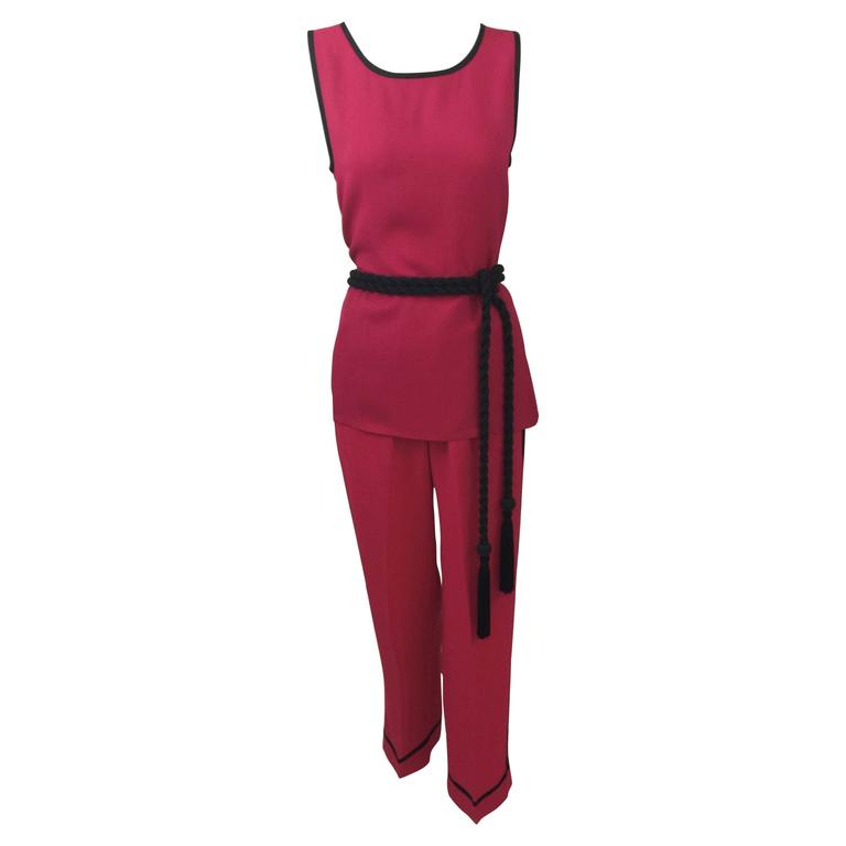Vintage Saint Laurent 1970s Top, Pants & Tassel Belt Set YSL