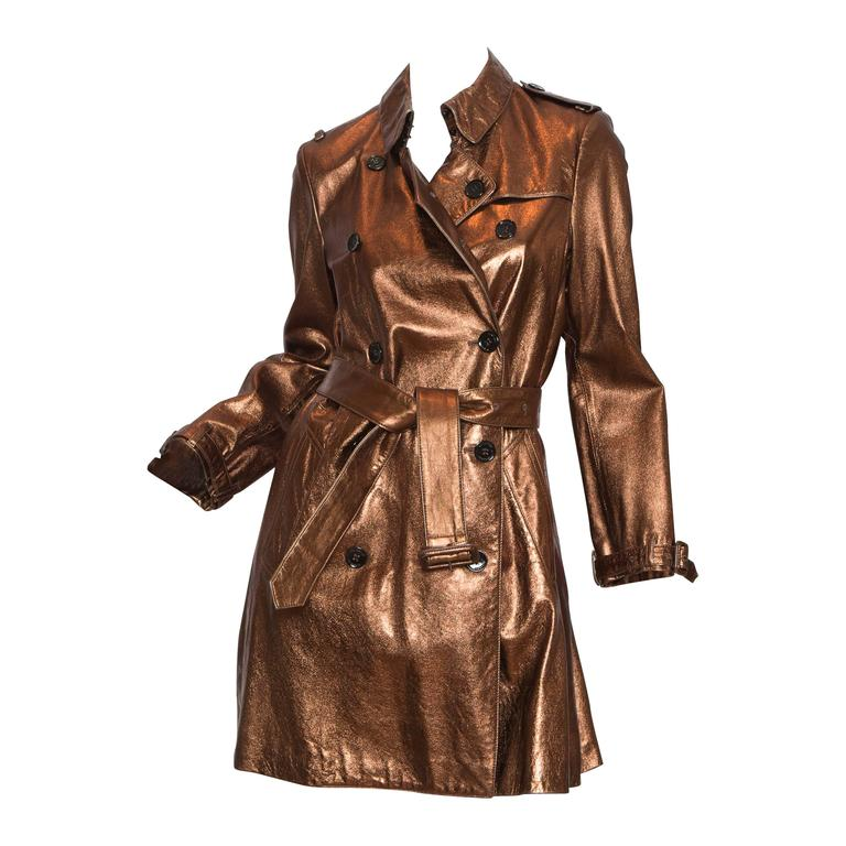 burberry metallic bronze trench coat for sale at 1stdibs. Black Bedroom Furniture Sets. Home Design Ideas