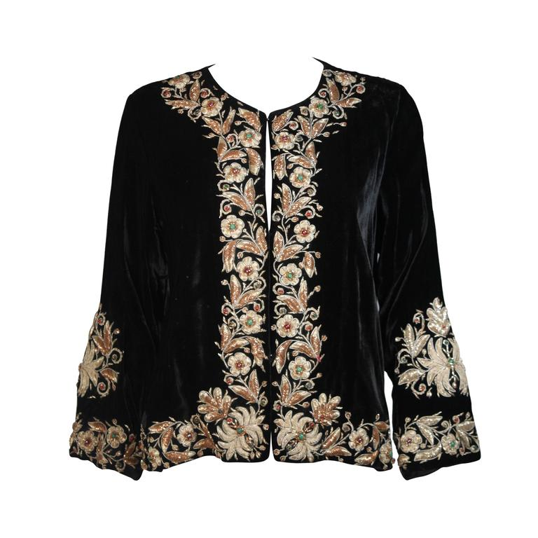 Velvet Jacket with Metallic Embroidery and Embellishment Size Small Medium Large For Sale