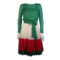 Galanos Attributed Silk Chiffon Green Red Cream Cocktail Dress Size Small Medium