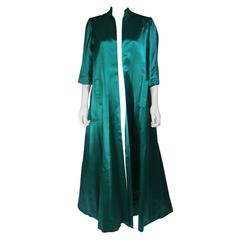 Galanos Green Silk Opera Coat Size Small