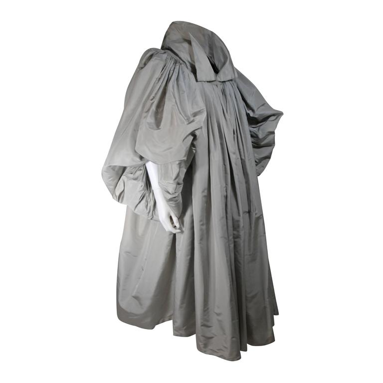 Galanos Attributed Dramatic Grey Silk Opera Coat Size Small Medium