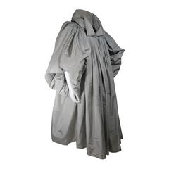 Galanos Attributed Dramatic Grey Silk Opera Coat Size Small Medium