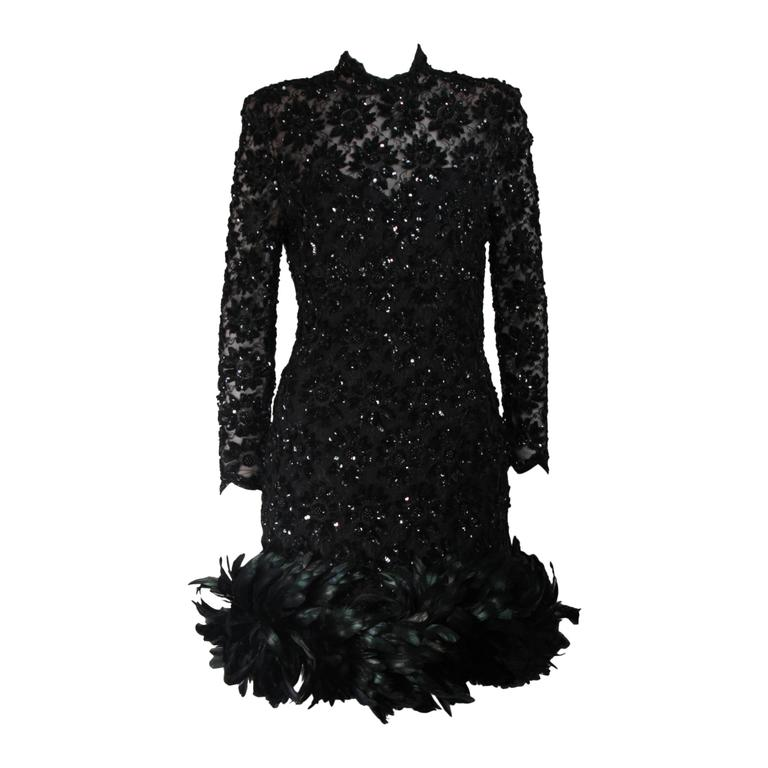Travilla Black Sequin Beaded Cocktail Dress with Feather Hem Size Small Medium For Sale