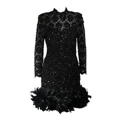 Travilla Black Sequin Beaded Cocktail Dress with Feather Hem Size Small Medium