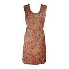 Galanos Floral Print Shift Dress with Pockets Size Small Medium