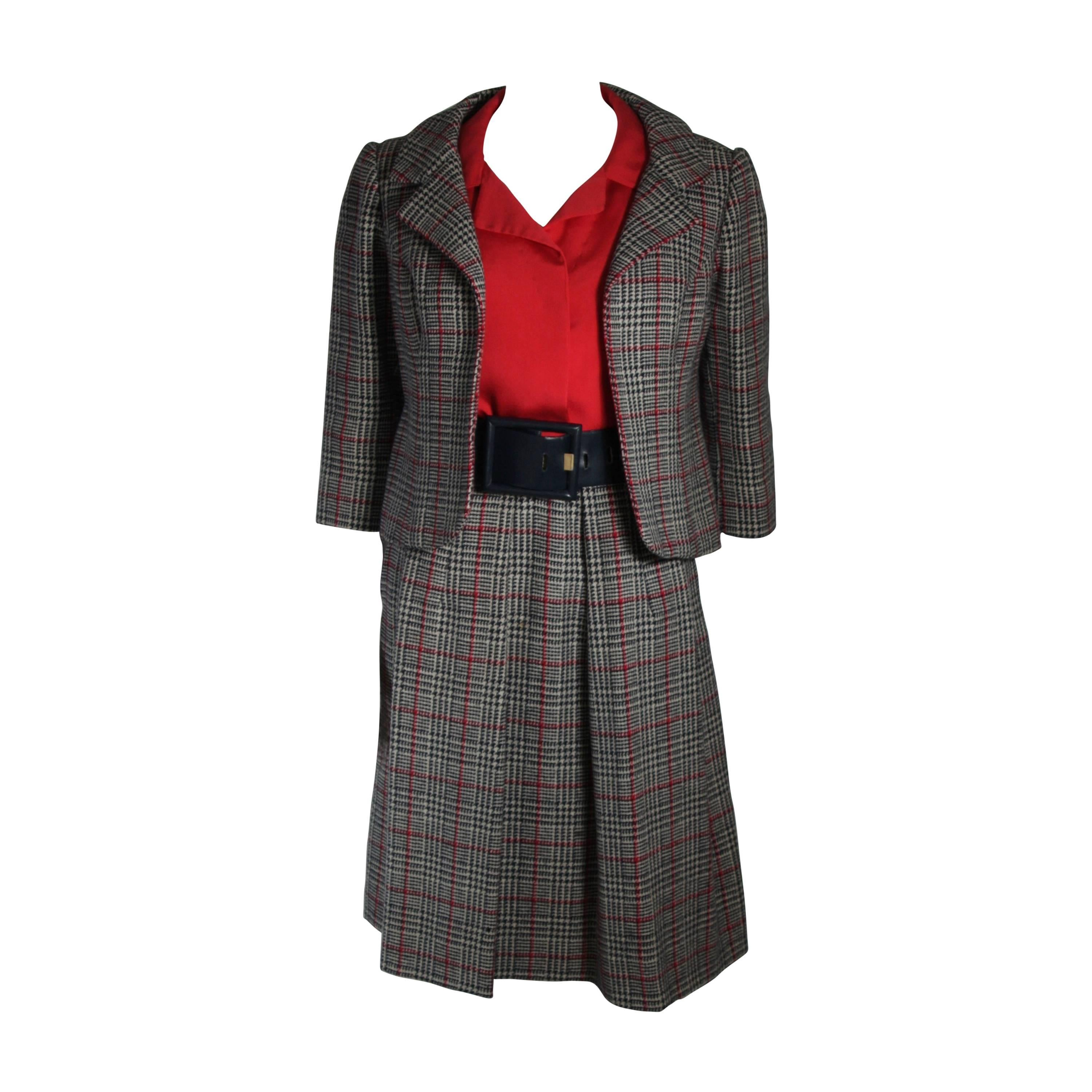 Galanos Black White and Red Wool Plaid Skirt Suit 4 Piece Size Small Medium