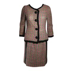 Galanos Wool Skirt Suit in Green Pink White and Black Size Small Medium