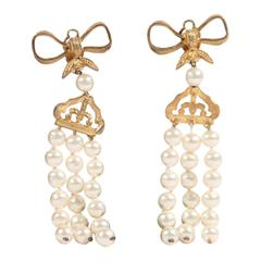 CHANEL Vintage 3 Strands Hanging FAUX PEARL STRING EARRINGS Box Detail w/ BOX